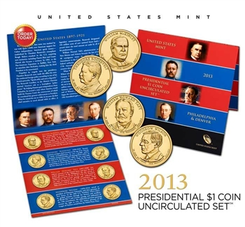 2013 US Mint Presidential $1 Coin Uncirculated Set
