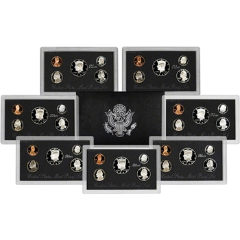 "7-pc. 1992 - 1998 US Mint Silver Proof Set - Complete ""Black"" Box Silver Sets"
