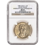 1980 US Gold (1 oz) American Commemorative Arts Medal - Grant Wood - NGC MS65