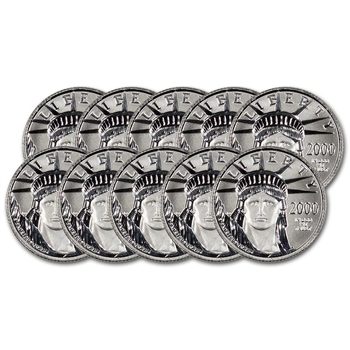 10-pc. American Platinum Eagle (1/10 oz) $10 - BU - Random Date