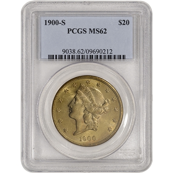 US Gold $20 Liberty Head Double Eagle - PCGS MS62 - Random Date