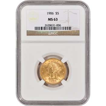 US Gold $5 Liberty Head Half Eagle - NGC MS63 - Random Date