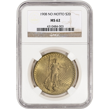 US Gold $20 Saint-Gaudens Double Eagle - No Motto- NGC MS62 - Random Date