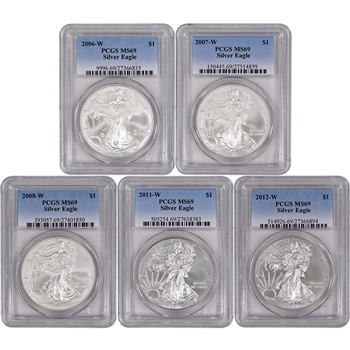 5-pc. American Silver Eagle - Uncirculated Collectors Burnished Set - PCGS MS69