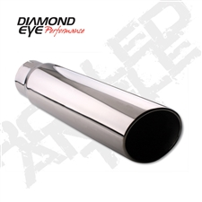 "Diamond Eye 5618RA 6"" Rolled End Angle Cut Exhaust Tip"