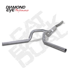 "Diamond Eye K4124A-RP 4"" Cat Back Dual Side Aluminized Exhaust System for 2001-2007 GM 6.6L Duramax LB7, LLY, LBZ"
