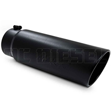 "MBRP T5125BLK 6"" Rolled Edge Angle Cut Black Coated Sainless T409 Exhaust Tip"