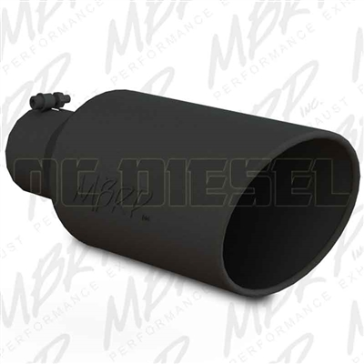 "MBRP T5126BLK 7"" Rolled Edge Angle Cut Black Coated Sainless T409 Exhaust Tip"