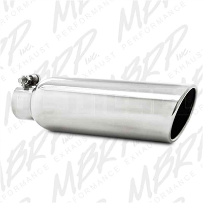 "MBRP T5147 3.5"" Rolled Edge Angled Cut Stainless T304 Exhaust Tip"