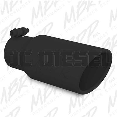 "MBRP T5155BLK 4"" Rolled Edge Angle Cut Black Coated Stainless T409 Exhaust Tip"