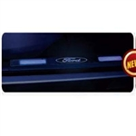 Recon 264121RFD Illuminated Door Sill 1999-2012 Ford Superduty Brushed Aluminum Blue Electroluminescence