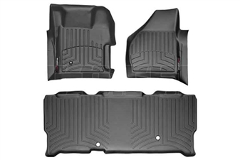 WeatherTech 441261-440023 Black FloorLiner Set for 2008-2010 Ford 6.4L Powerstroke