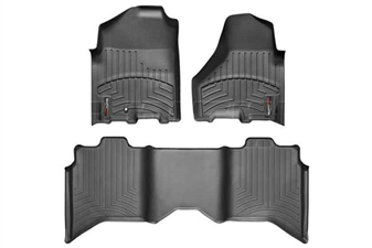 WeatherTech 44216-1-3 Black FloorLiner Set for 2010-2012 Dodge 6.7LCummins