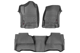 WeatherTech 446071-445424 Black FloorLiner Set for 2014-2017 GM 6.6L Duramax LML, LP5