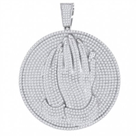 60665 SS Praying Hand Medallion