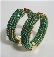 BEX5780 GREEN LUXURY HOOP EARRINGS