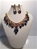 CNE6446BLU GOLD & BLUE NECKLACE SET