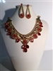 CNE6446RED  GOLD & RED NECKLACE SET