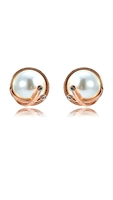 E3138 Rose Gold Plated Pearl Earrings