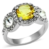 LOA1068 Yellow & White CZ Ring