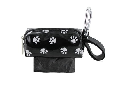 Doggie Walk Bags - Black with White Paws Square Duffel