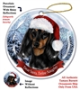 Dachshund Black & Tan (Longhair) Holiday Ornament - Made in the USA