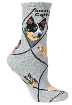 Wheel House Design Australian Cattle Dog on Gray Socks (Size 9-11)