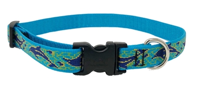 "Lupine 3/4"" Sample Bright Royal Blue Dolphin with Yellow Outline 9-14"" Adjustable Collar"