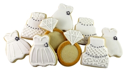 Wedding Dress, Cake, and Engagement Ring Cookies