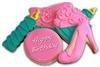 Happy Birthday Pink Shoe Gift Box Sugar Cookies