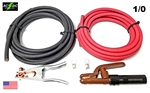 100' Set of 1/0 Red & Black Welding Cable & Connectors 50' Ground & 50' Stinger