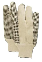 10oz COTTON CANVAS GLOVE with PVC DOTTED PALM - KNIT WRIST