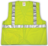 Safety Vest: Mesh, Hook & Loop - FLUORESCENT YELLOW-GREEN