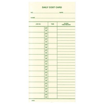FORM 25550 Time Cards