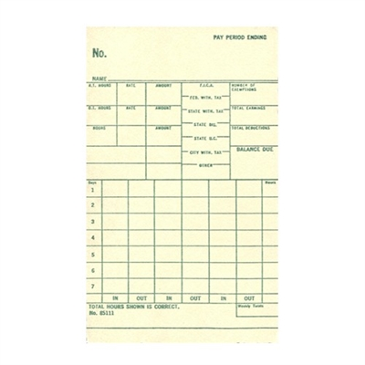 FORM 85111 Time Cards