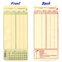 FORM A1181 Time Cards, front and back