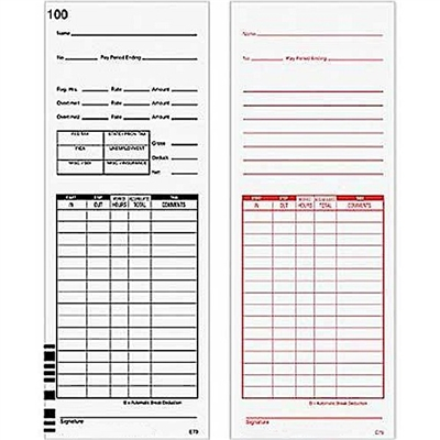 FORM E79 Time Cards
