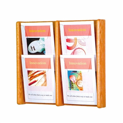4 Pocket Oak & Acrylic Literature Display, Model ET-AC19-4