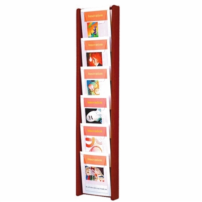 6 Pocket Oak & Acrylic Literature Display, Model ET-AC48-6