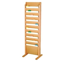 Free-Standing 10 Pocket Oak File Rack