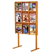 9 / 18 Pocket Oak Free Standing Magazine Rack, Model ET-LM-12FS