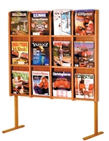 12 Pocket Oak Free Standing Magazine Rack, Model ET-MM-12FS