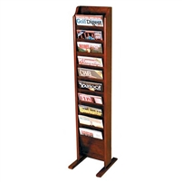 10 Pocket Free Standing Oak Magazine Rack, Model ET-MR10-FS