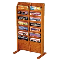 14 Pocket Free Standing Oak Magazine Rack, Model ET-MR14-FS