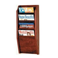 4 Pocket Oak Magazine Rack, Model ET-MR24-4