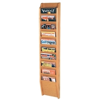 10 Pocket Oak Magazine Rack, Model ET-MR48-10
