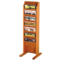 7 Pocket Free Standing Oak Magazine Rack, Model ET-MR7-FS
