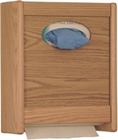 Combo Oak Towel Dispenser/ Glove Box Holder