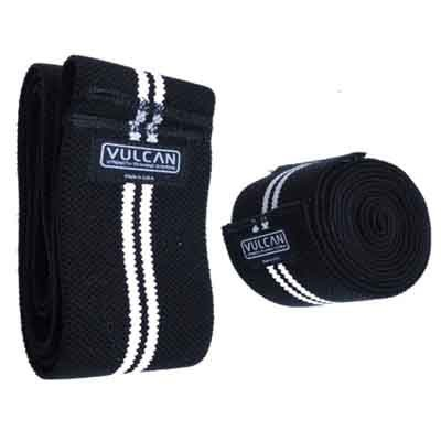 Vulcan Black/White Stripe Knee Wraps - Competition/Professional Grade