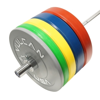 385 lb Color Bumper Plate and Olympic Bar Set